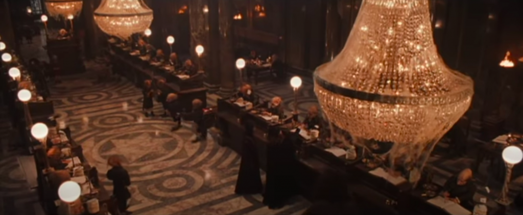 Harry and Hagrid visit Gringotts Bank in Harry Potter and the Philosophers Stone
