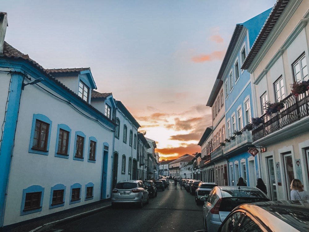 Sunset just outside our accommodation in the cute streets of Angra do Heroismo on Terceira Island