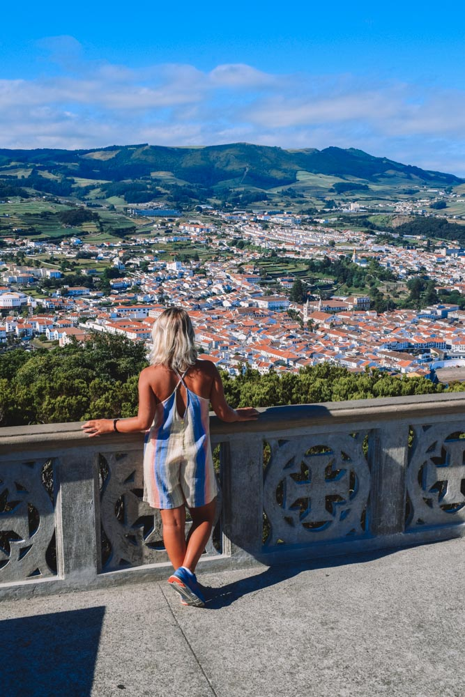 Enjoying the view over Angra do Heroismo from the Mount Brazil hike
