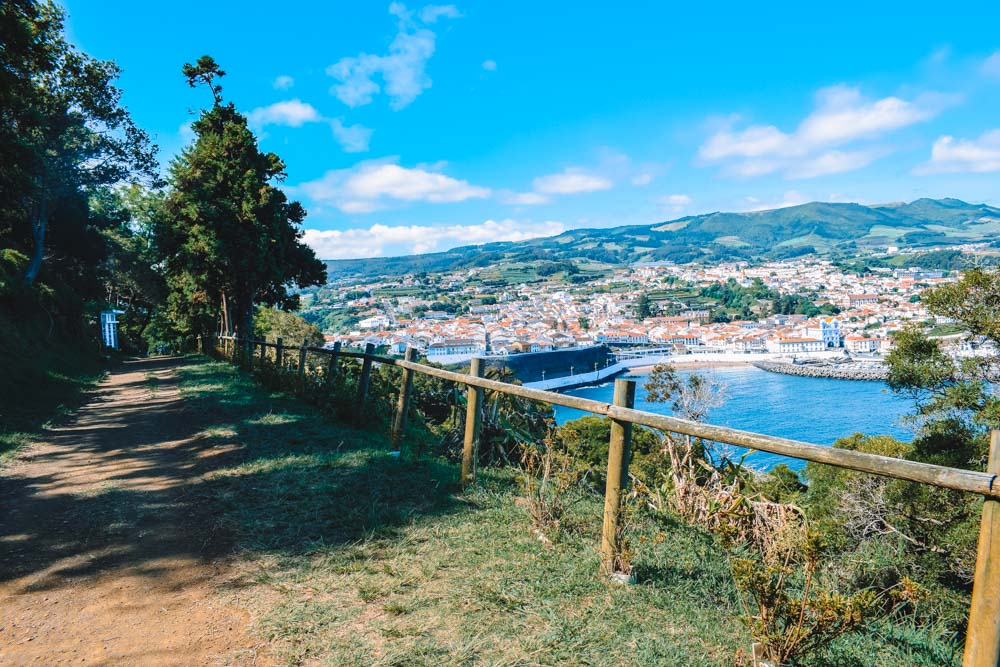 The hiking trail of Monte Brazil with view of Angra do Heroismo on Terceira Island