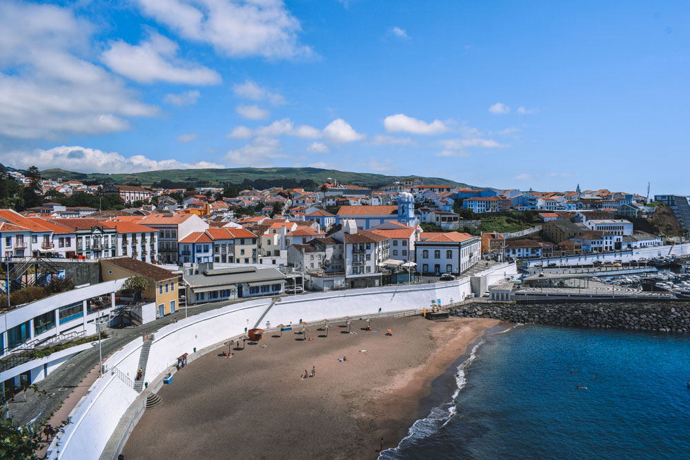 The beach and harbour of Angra do Heroismo on Terceira Island