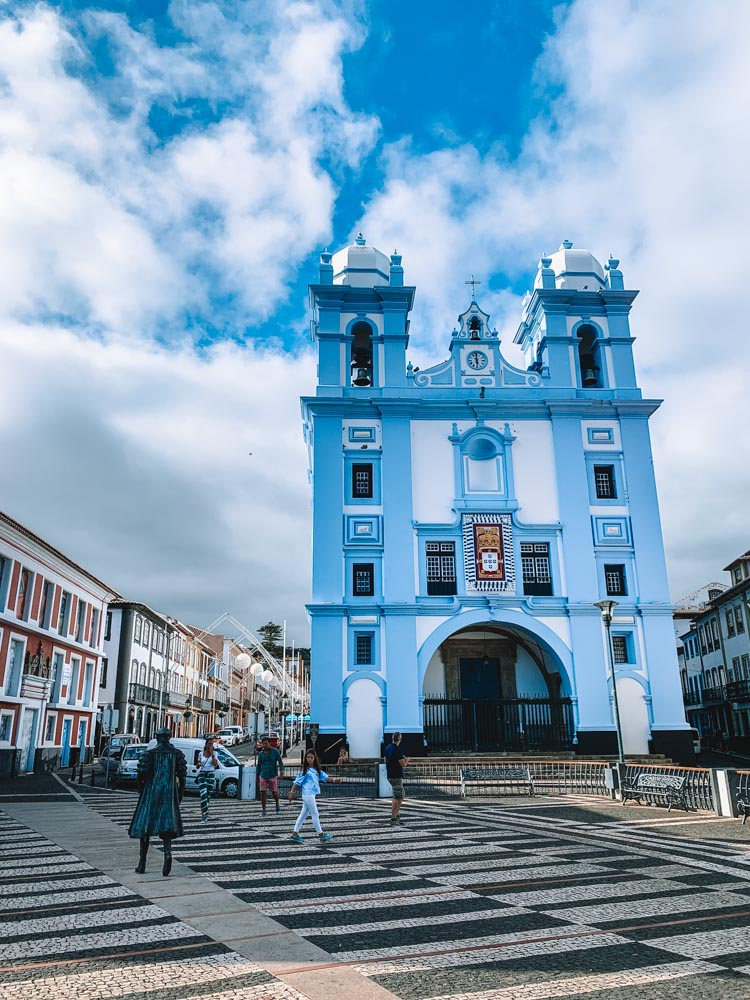 One of the colourful churches in Angra do Heroismo on Terceira Island