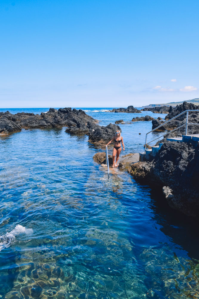 Enjoying the Biscoitos Natural Pools on Terceira Island