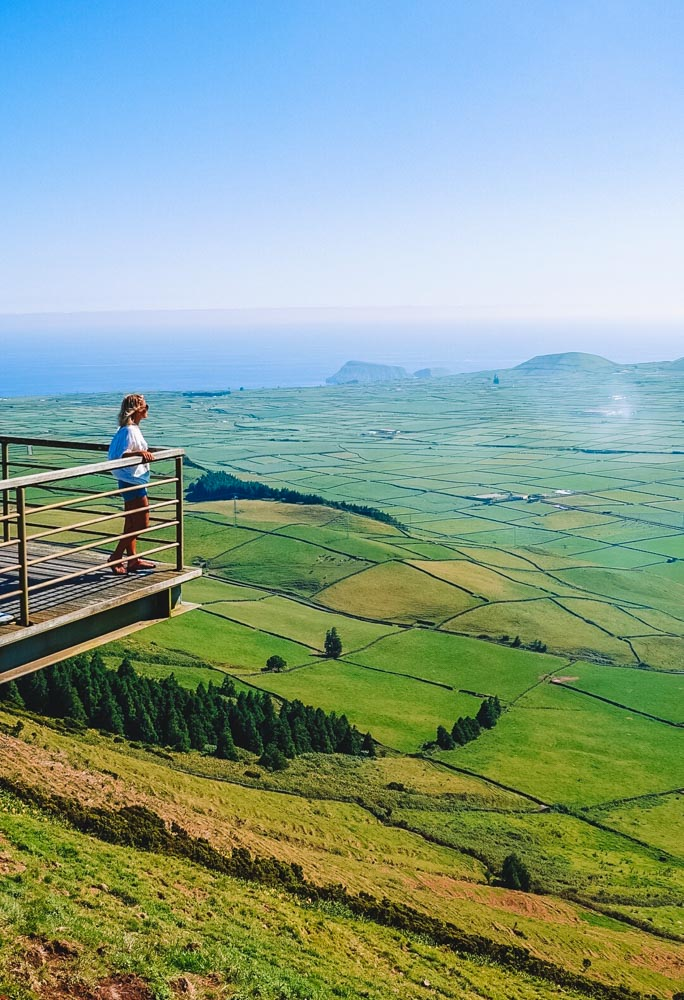 Enjoying the view from the Miradouro Serra do Cume Viewpoint in Terceira Island
