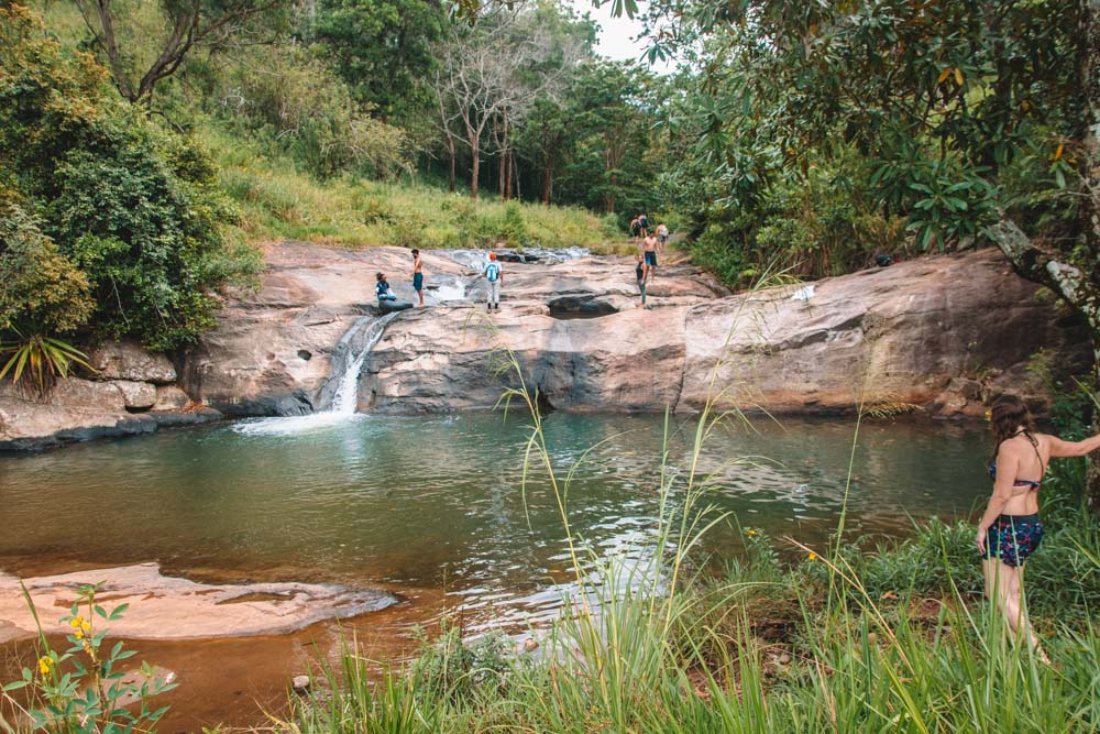 The final smaller pool at the top of Diyaluma Falls where you can slide down the fall