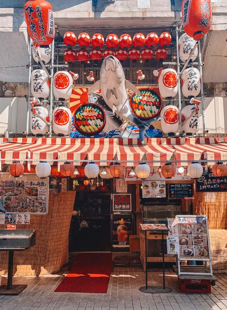 Funky shop fronts in Ameyoko, Tokyo