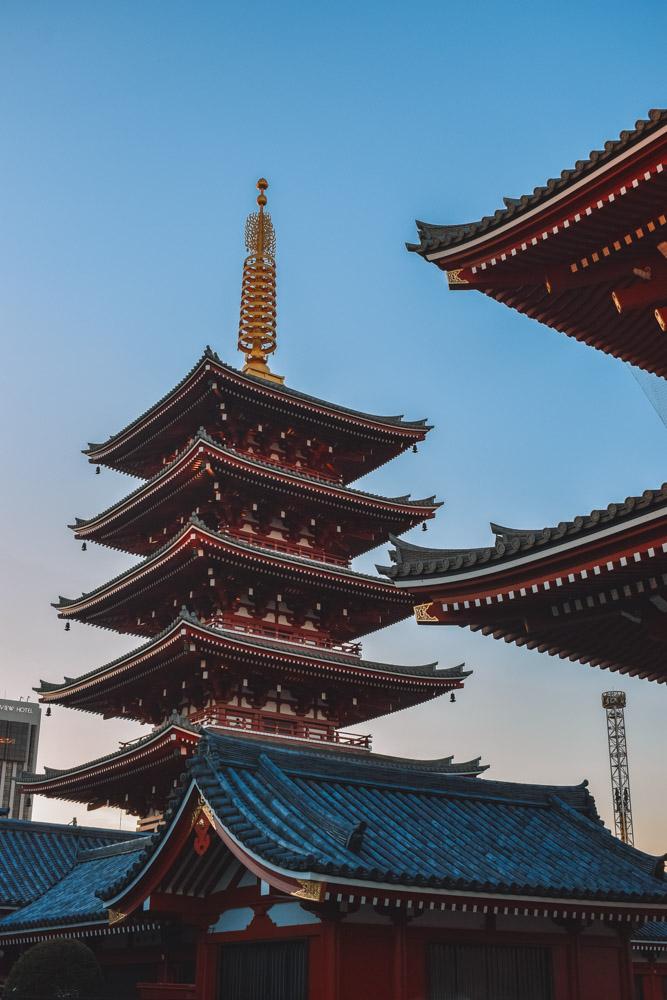 The pagoda of Senso-ji temple in Asakusa, Tokyo