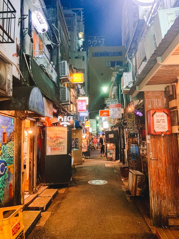 The streets and bars of Golden Gai in Shinjuku at night