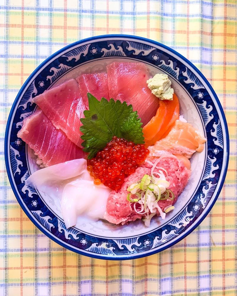 A very tasty chirashi bowl from Tsukiji fish market in Tokyo