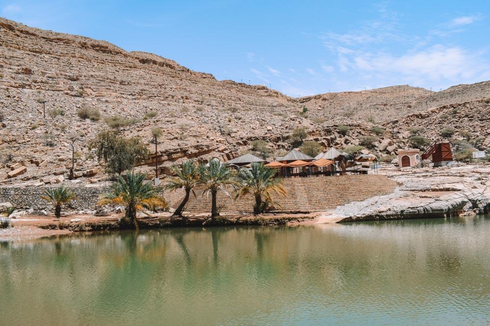 The restaurant at the main pool of Wadi Bani Khalid in Oman