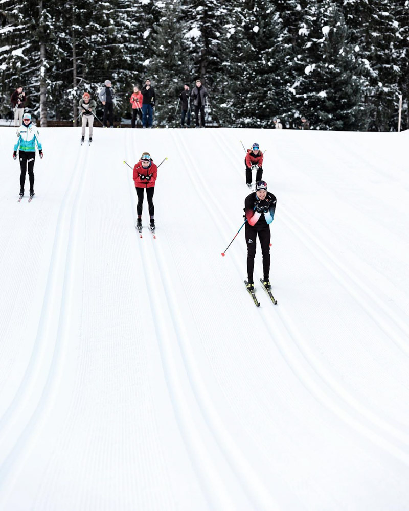 Cross country skiing with Dario Cologna in Davos, Switzerland, photo by Best of the Alps