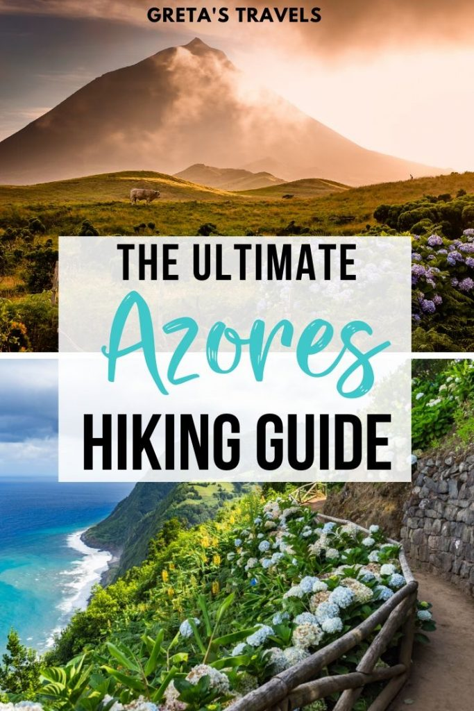 "Photo collage of Sao Jorge and Pico islands with text overlay saying ""the ultimate Azores hiking guide"""