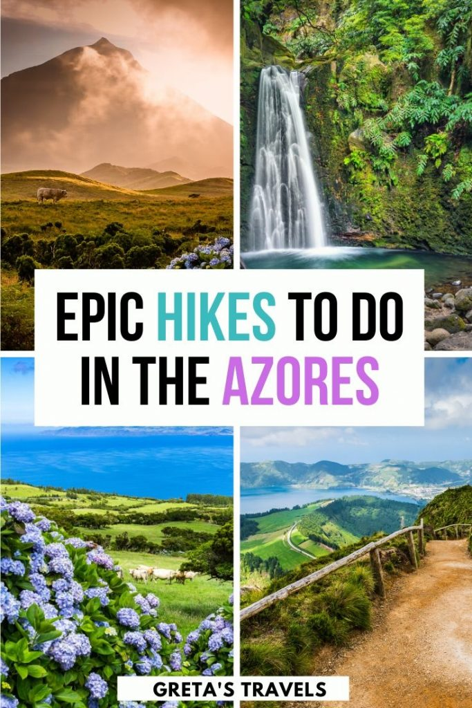"Photo collage of Sao Jorge, Sao Miguel and Pico islands with text overlay saying ""Epic hikes to do in the Azores"""