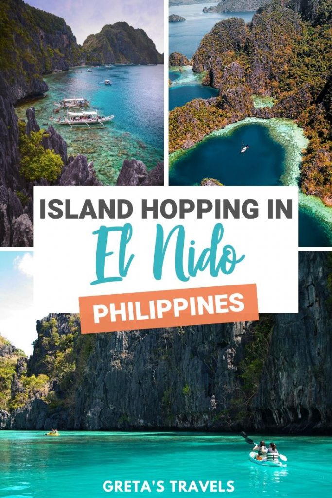 """Collage of beautiful beaches in El Nido with text overlay saying """"Island hopping in El Nido, Philippines"""""""