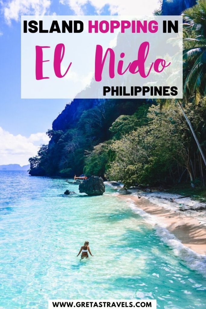 """Girl relaxing at Paradise Beach with text overlay saying """"island hopping in El Nido, Philippines"""""""