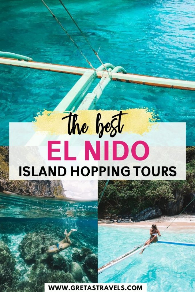 """Collage of beautiful beaches in El Nido with text overlay saying """"the best El Nido island hopping tours"""""""