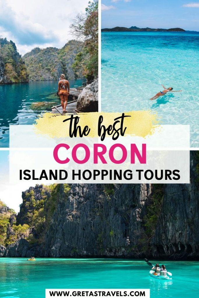 "Collage of Kayangan Lake, Malcapuya Island and Twin Lagoons in Coron with text overlay saying ""the best Coron island hopping tours"""