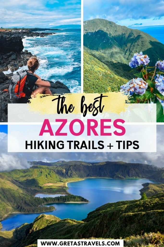 "Photo collage of Sao Jorge, Sao Miguel and Pico islands with text overlay saying ""the best hiking trails in the Azores"""