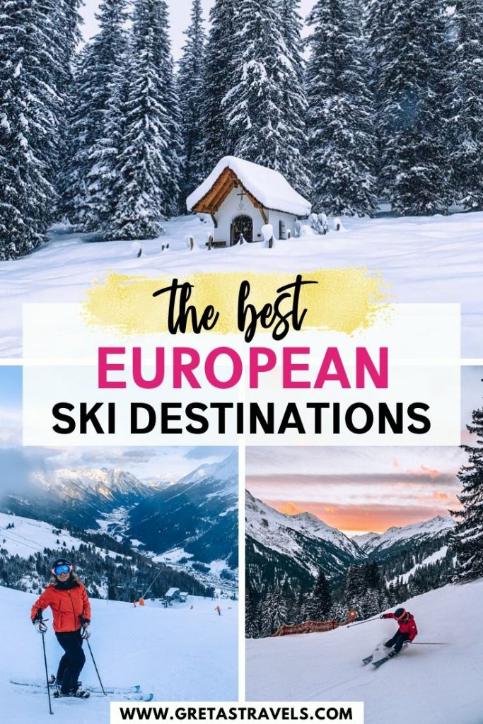 """Collage of the ski slopes in Lech Zurs and St Anton am Arlberg in Austria with text overlay saying """"the best European ski destinations"""""""