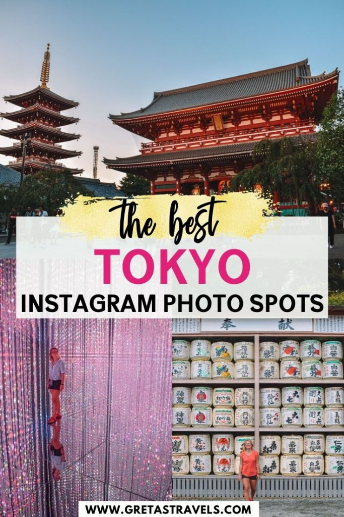 """Collage of a light installation at Teamlab Borderless exhibition in Tokyo, Sensoiji temple in Asakusa and white sake barrels with text overlay saying """"The best Tokyo Instagram photo spots"""""""