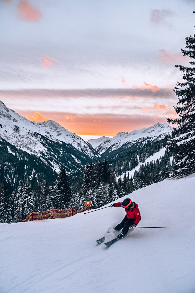 Skiing in St Anton am Alberg at sunset