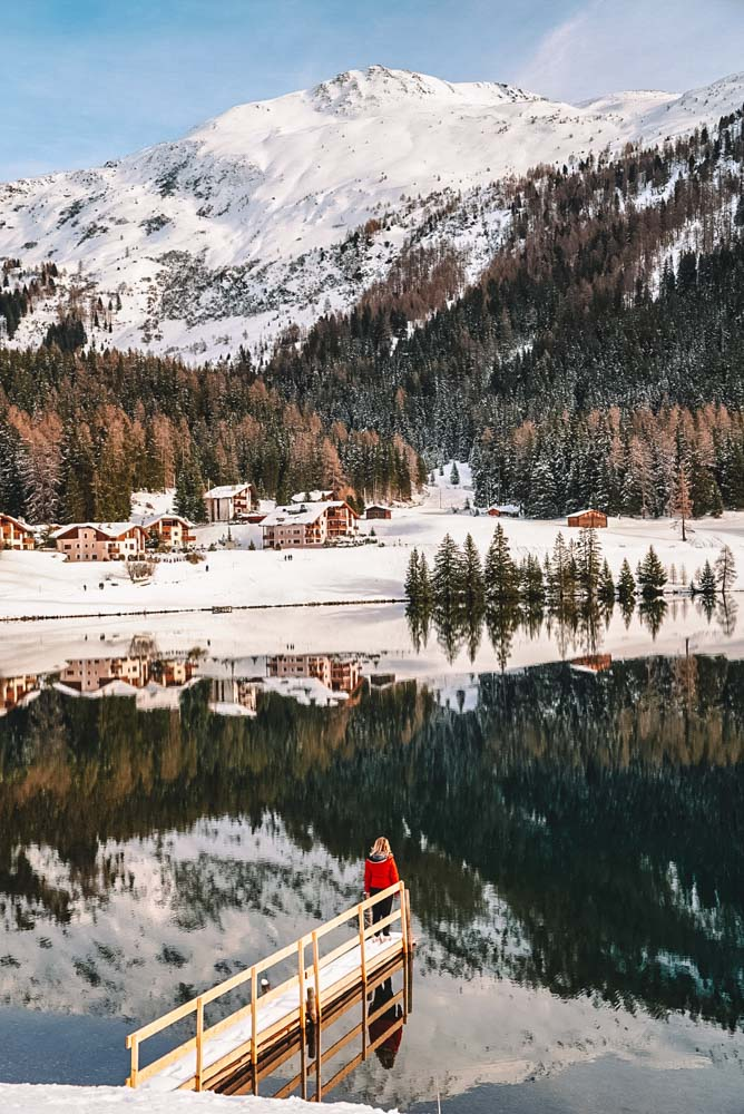 Beautiful reflections at the lake just outside Davos, Switzerland