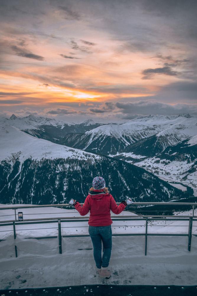 Enjoying the sunset view from the top of Schatzalp in Davos, Switzerland