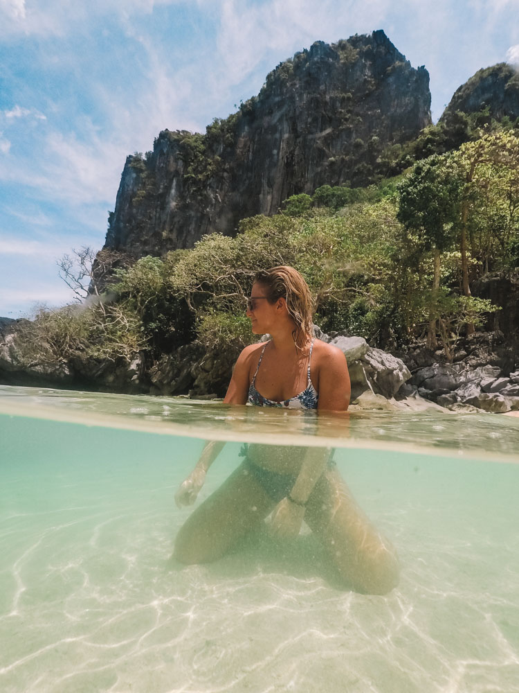 Chilling on the beach at Pinagbuyutan Island during our tour A&B combo in El Nido