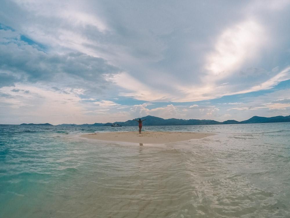 The Bulog Dos sandbar (at high tide) that you visit during Coron Tour C Island Escape