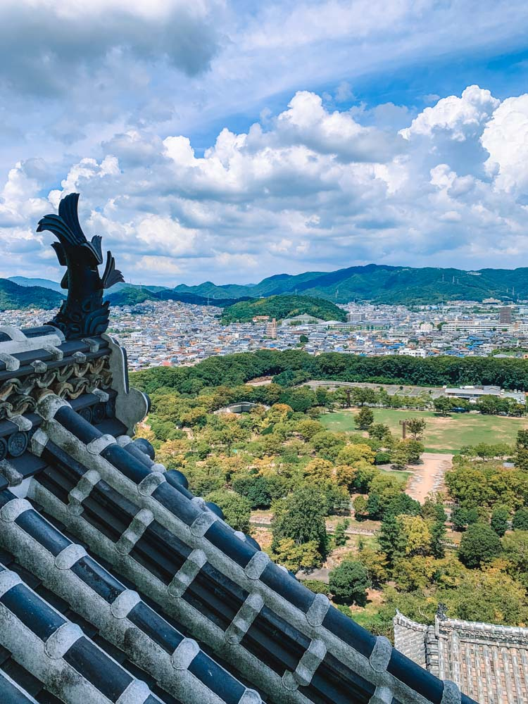 The view from the top floors of Himeji Castle