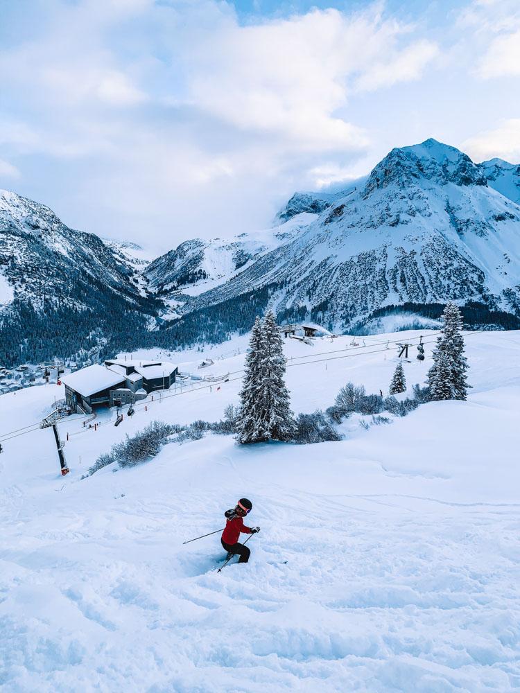 Skiing in the fresh powder snow of Lech Zurs, Austria