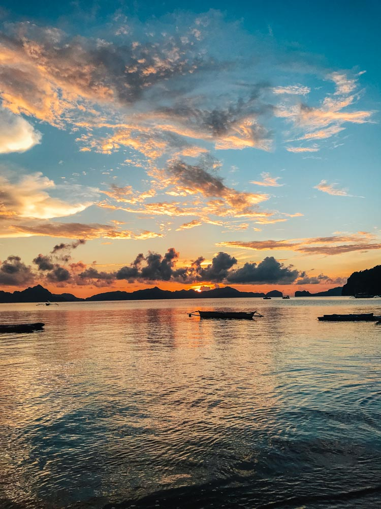 Sunset views from Outpost Beach Hostel in El Nido