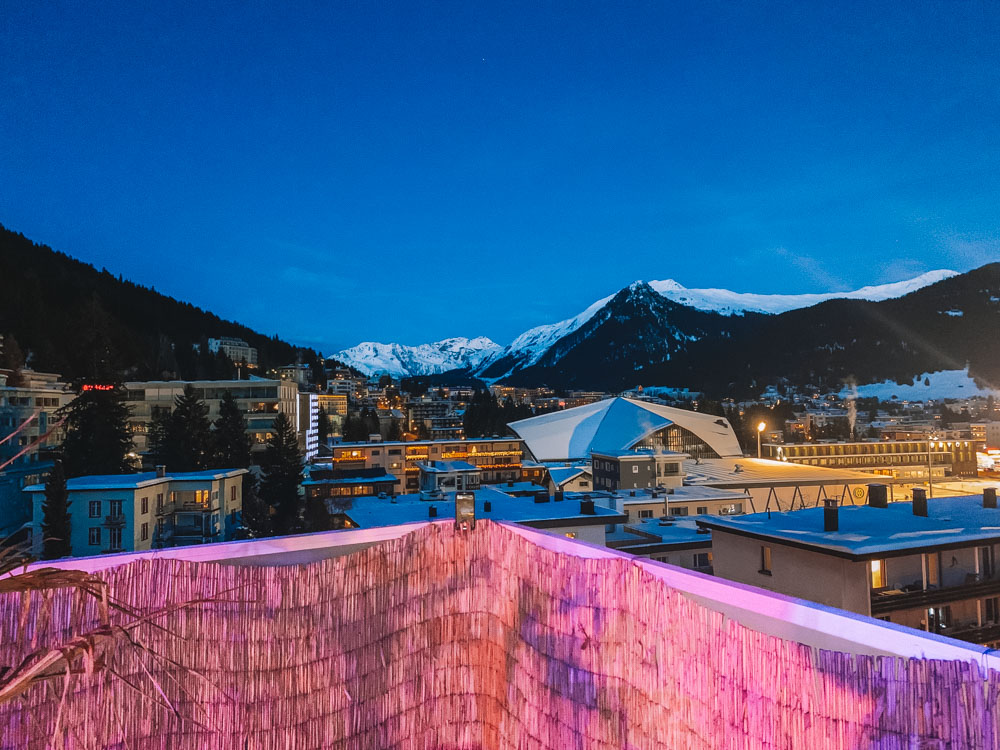 The view from the rooftop of the Hard Rock Hotel in Davos