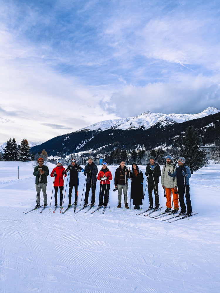 Cross country skiing with Dario Cologna in Davos, Switzerland