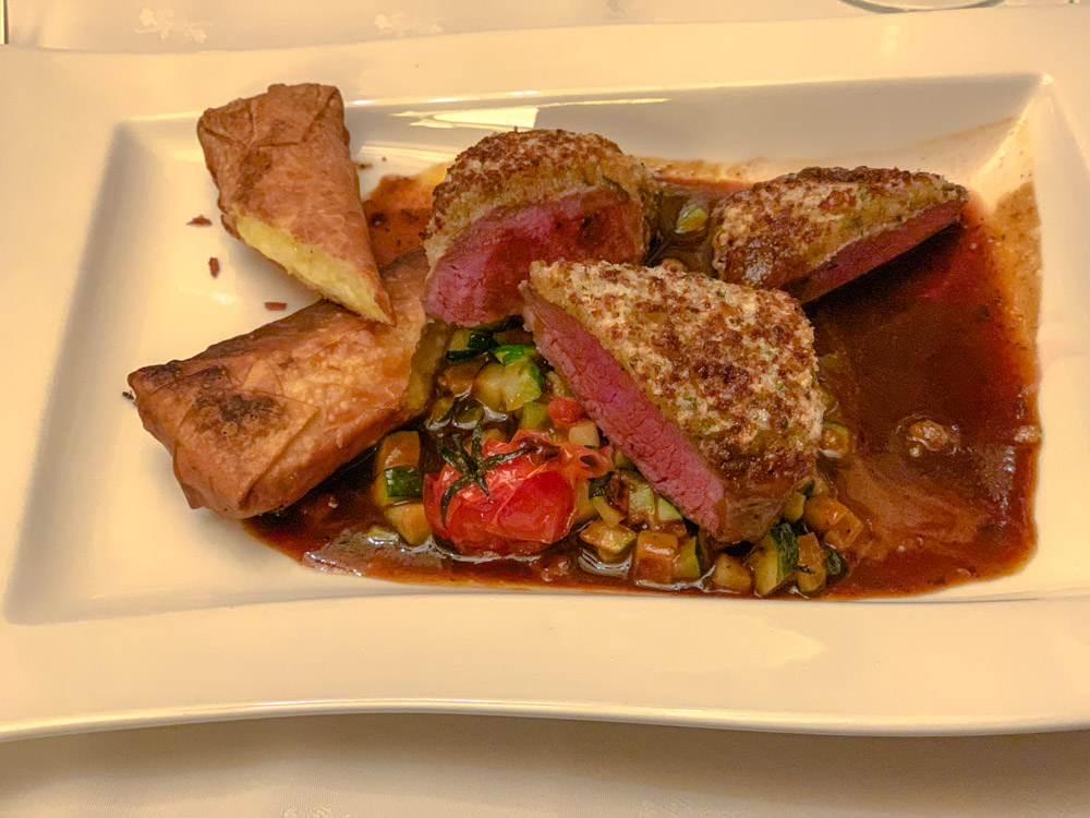 Dinner at the Museum St Anton; herb crusted lamb with crispy cheese polenta