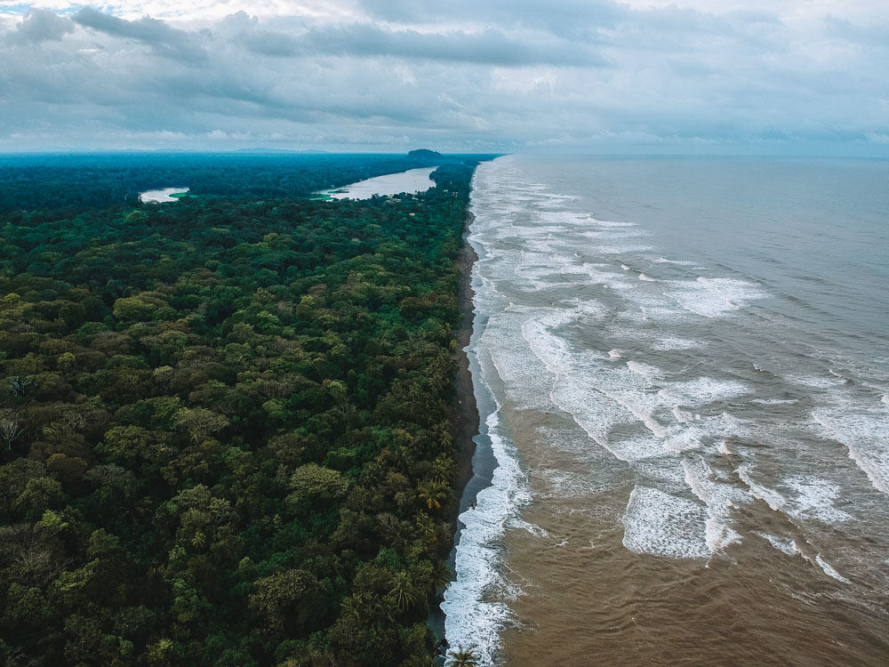 "Drone shot of Tortuguero National Park, taken from the ""jaguar trail"""