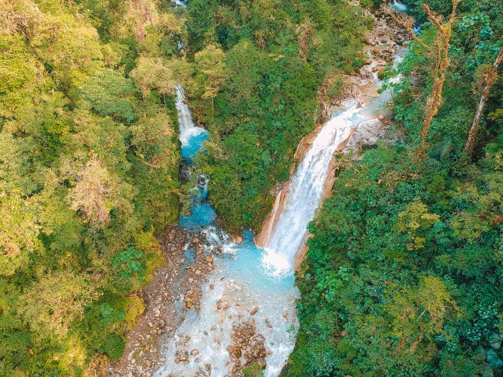 Drone shot of the Blue Falls of Costa Rica
