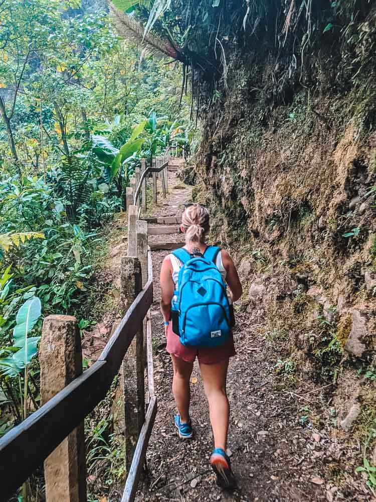 Hiking back up from the base of Catarata del Toro waterfall to the park reception