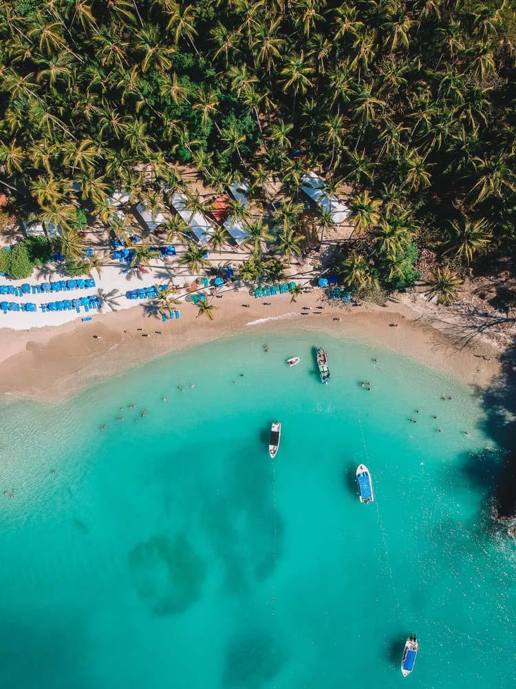 Top down drone shot of the main beach at Isla Tortuga