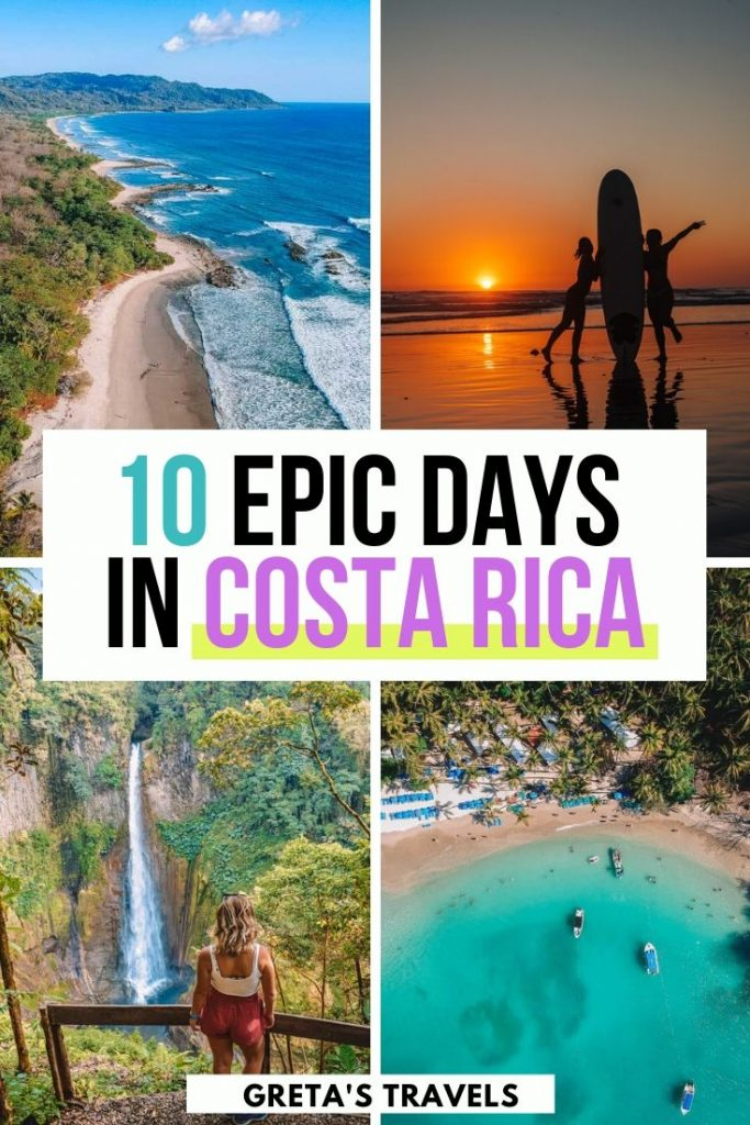 """Collage of Santa Teresa beach, Catarata del Toro waterfall, Isla Tortuga from above and two girls surfing on the beach at sunset with text overlay saying """"10 epic days in Costa Rica"""""""
