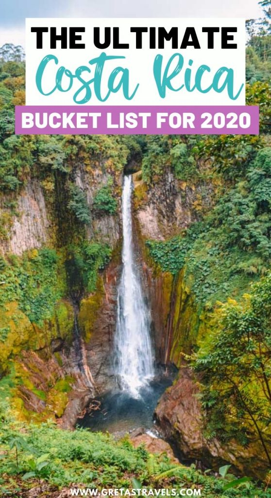 """Catarata del Toro waterfall seen from one of the viewpoints with text overlay saying """"The ultimate Costa Rica bucket list for 2020"""""""