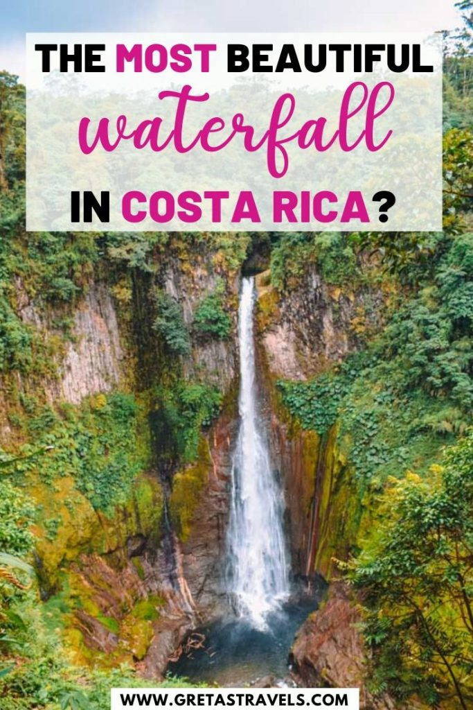 """View over Catarata del Toro waterfall with text overlay saying """"the most beautiful waterfall in Costa Rica?"""""""