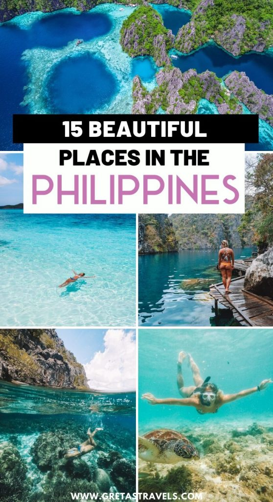 """Collage of Kayangan Lake, El Nido, Malcapuya Island and girl snorkelling with turtles in Cebu with text overlay saying """"15 beautiful places in the Philippines"""""""