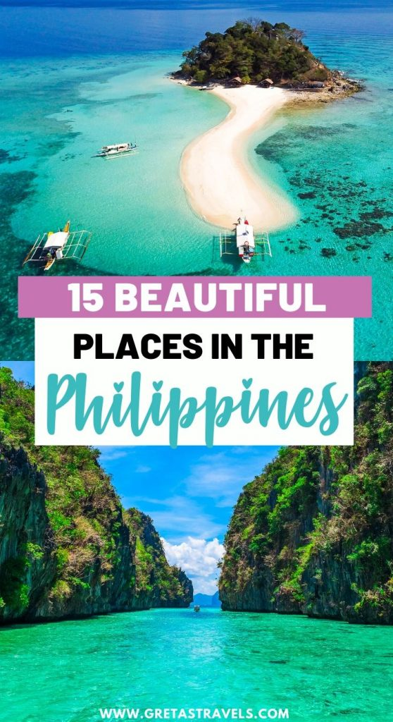 """Collage of a drone shot of a beach and Big Lagoon in El Nido with text overlay saying """"15 beautiful places in the Philippines"""""""