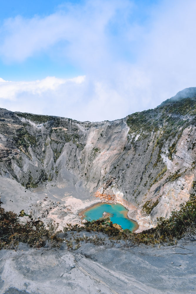Looking into the crater of Irazu volcano