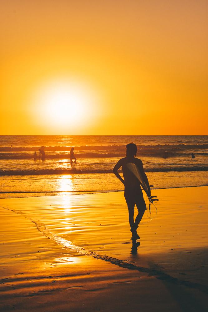 Sunset surfing in Santa Teresa