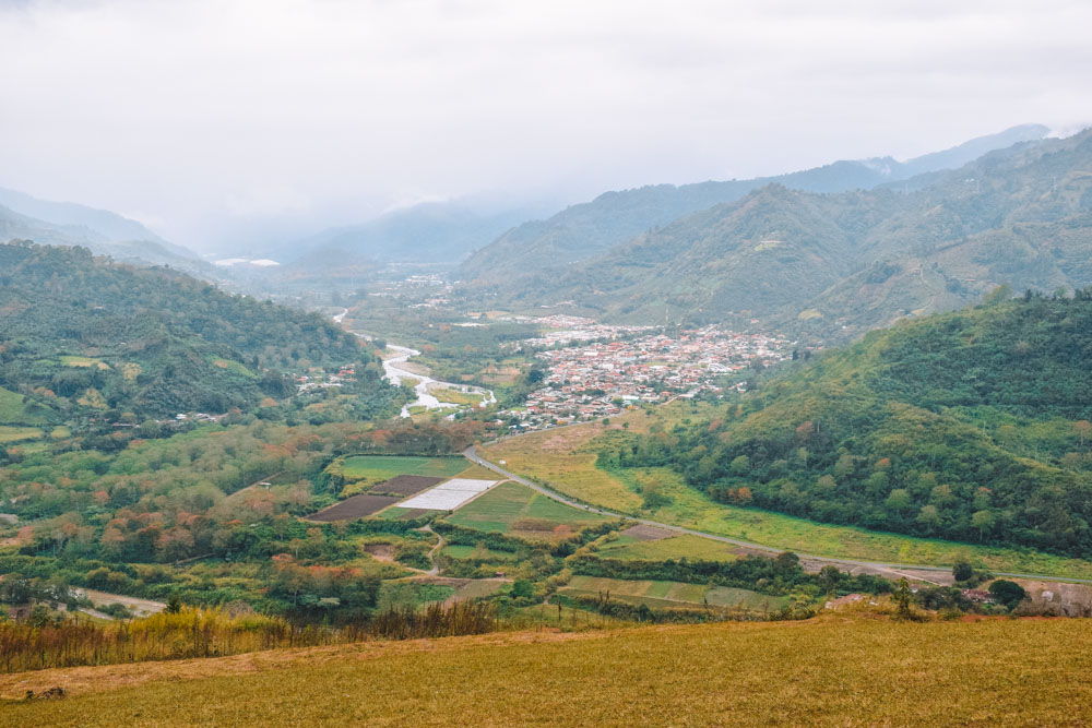 The view from Mirador de Orosi on a cloudy day