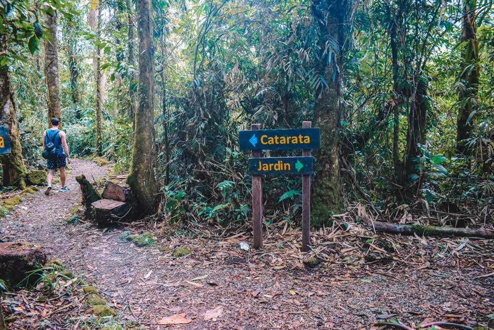 The trail, markers and botanical garden at Catarata del Toro waterfall