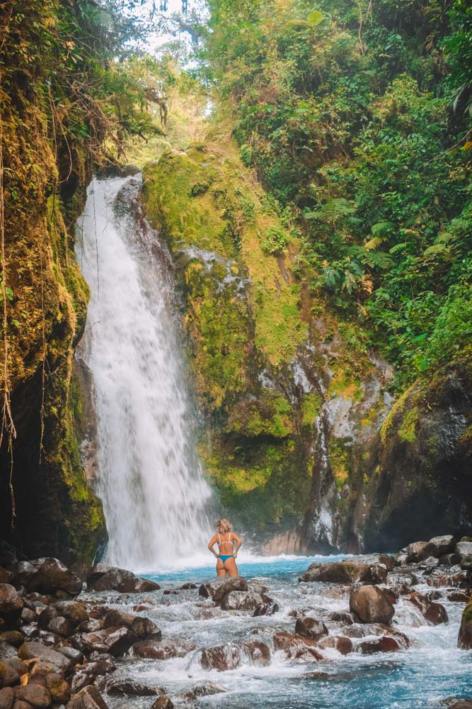 Swimming in the second waterfall of the Blue Falls of Costa Rica
