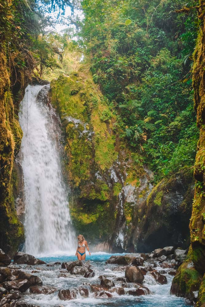 Going for a dip in the Blue Falls of Costa Rica